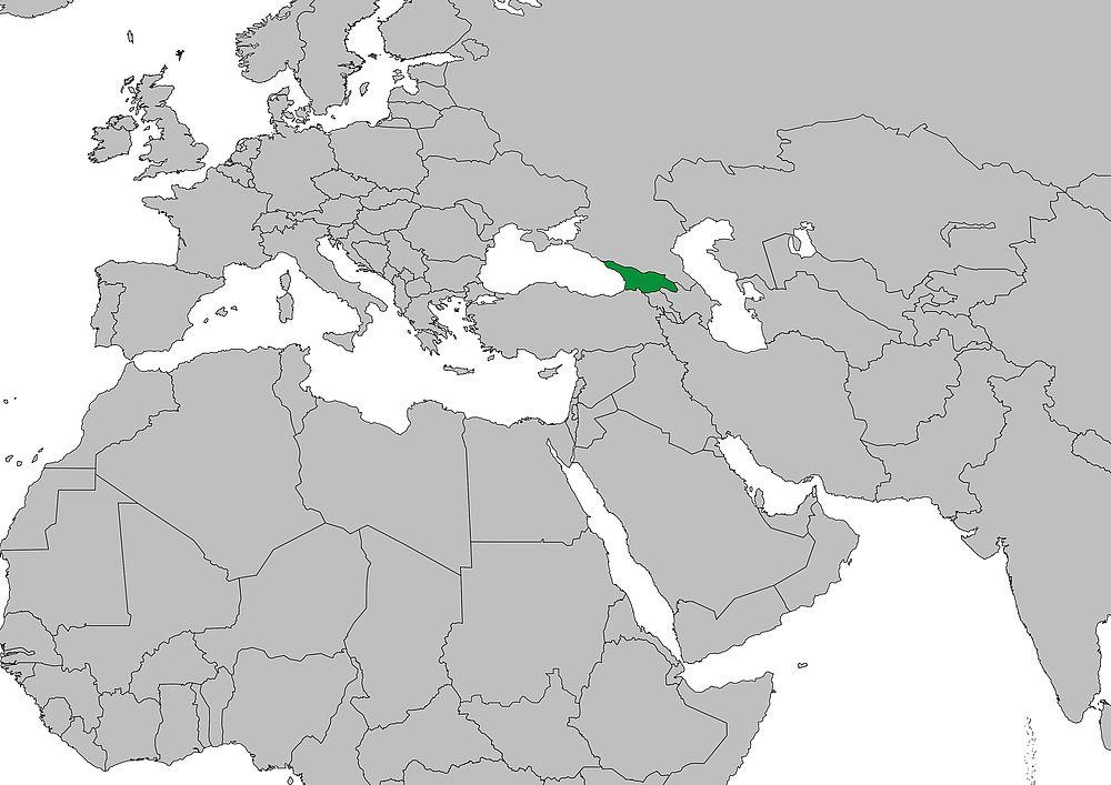 Weltkarte Georgien Frieden Fragen