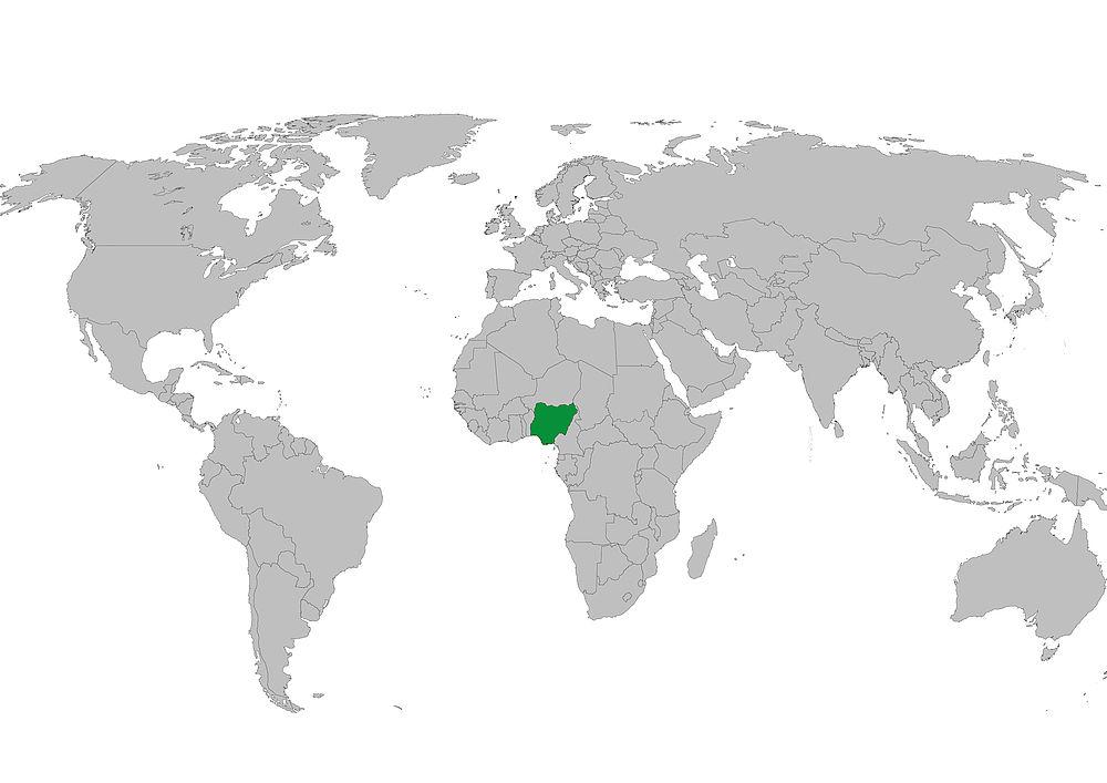 Nigeria Weltkarte